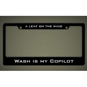 "Show details of ""Wash Is My Copilot"" License Plate Frame."