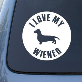 Show details of LOVE MY WIENER - Dog Dachshund - Vinyl Car Decal Sticker #1622 | Vinyl Color: White.