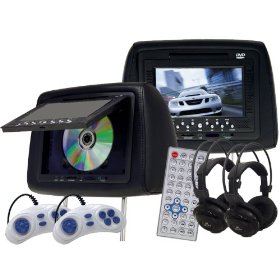 "Show details of (2) NEW 7"" LCD Headrest Car Monitors DVD Player USB SD."