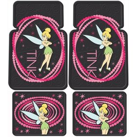 Show details of Tinkerbell Tink Optic Pink Dot 4 Pc Floor Mats Set.