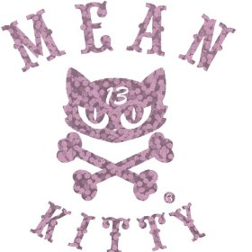 Show details of Lucky 13 Mean Kitty Pink Glitter Die Cutz Decal.