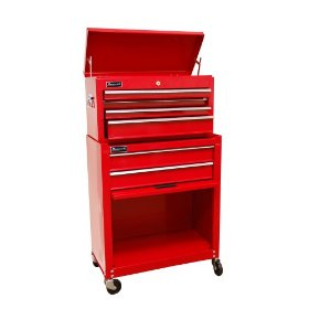 Show details of HOMAK RD07062400 Home Owner-foots Combo Top Chest/Roller Cabinet Combo Red.