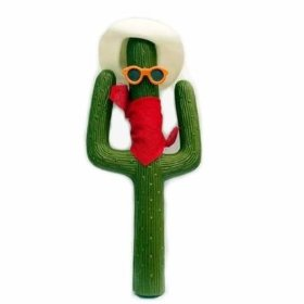 Show details of Green Cactus Car Antenna with Red Bandana.