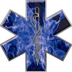 "Show details of Star of Life EMT EMS Inferno Blue 4"" Reflective Decal."