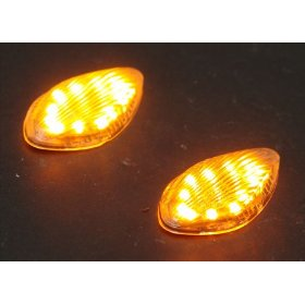 Show details of 03-08 HONDA CBR 600 RR FLUSH CLEAR LED TURN SIGNALS.