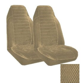 Show details of Set of 2 Universal Fit High Back Scottsdale Pattern Front Bucket Seat Cover - Sand.