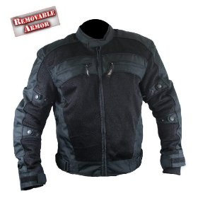 Show details of Mens Black Cordura Armored Motorcycle Jacket - Size : 2XL.