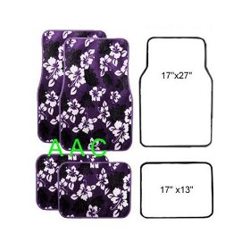 Show details of A Set of 4 Universal Fit Hawaii Hibiscus Carpet Floor Mats for Cars / Truck - Purple.