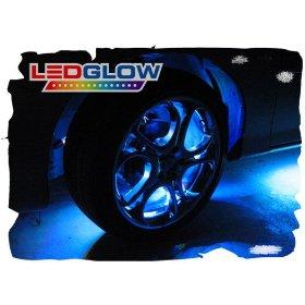 Show details of 4pc Blue Flexible LED Wheel Well Fender Light Kit.