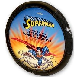 Show details of Silver Superman Shield Steering Wheel Covers..