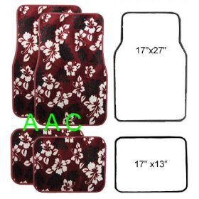 Show details of A Set of 4 Universal Fit Hawaii Hibiscus Carpet Floor Mats for Cars / Truck - Red.