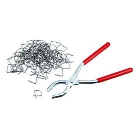 Show details of Easy Hog Ring Plier and 100-Piece Ring Set.