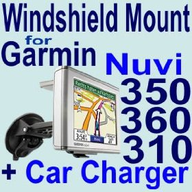 Show details of Car Mounting Kit Vehicle Windshield / Suction CUP Mount for Garmin Nuvi 300, 310, 350, 360 GPS + Car Charger.
