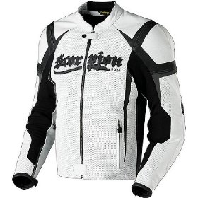 Show details of Scorpion Stinger Black/White Leather Motorcycle Jacket - Size : Large.