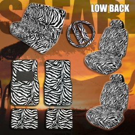 Show details of Complete Safari Zebra Low Back Car Mats Seat Covers Steering Wheel Cover Set.