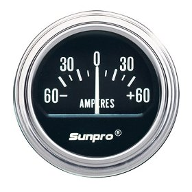 Show details of Sunpro CP7954 Electrical Ammeter Gauge - Black Dial.