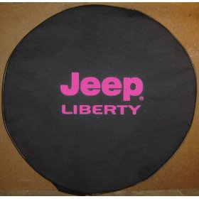 Show details of Jeep� Liberty PINK Logo on Black Denim Tire Cover.