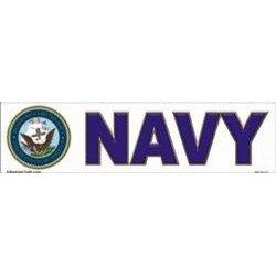 Show details of Navy bumper sticker.