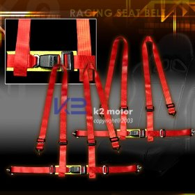 Show details of 2 New Jdm Racing Seat Belt Belts 4 Point Harness - Red.