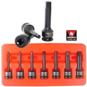 "Show details of Super Heavy-Duty Hex Driver Impact Socket Set - 3/8"" Drive - SAE."