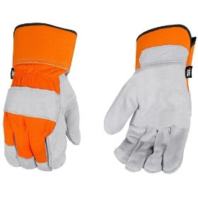 Show details of Black and Decker BD520L Premium Split Cowhide Leather Palm Work Gloves, Large.