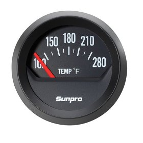 Show details of Sunpro CP8211 StyleLine Electrical Water/Oil Temperature Gauge - Black Dial.