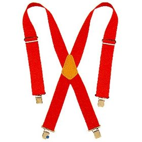 Show details of Custom LeatherCraft 110 RED Heavy Duty Work Suspenders.