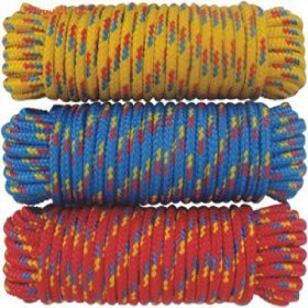 "Show details of 1/2' x 50"" Diamond Braided Poly Rope, Multi-Color (1 pc)."
