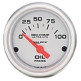Show details of Auto Meter 4327 Ultra-Lite Short Sweep Electrical Oil Pressure Gauge.