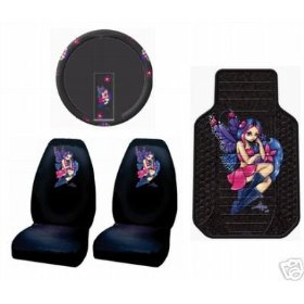 Show details of Jasmine Becket Fairy Pixie 5pc Combo Front Car Floor Mats Seat Covers Steering Wheel Cover Plus Free Rear Mats.