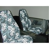 Show details of Hawaiian-Print 5-pc. Seat Cover Kit - Black.