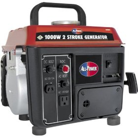 Show details of All Power America APG3004 1,000 Watt 2.4 HP 2-Cycle Gas Powered Portable Generator (Non-CARB Compliant).