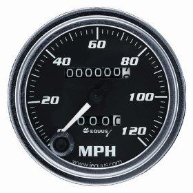Show details of Equus 7072 Speedometer - Black Dial.
