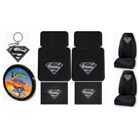 Show details of Silver SUPERMAN 9pc Combo Set Front & Rear Floor Mats, Seat Covers, Steering Wheel Cover & Keychain Plus Bonus Matching Decal.
