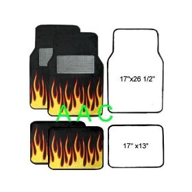 Show details of A Set of 4 Universal Fit Fire Flame Carpet Floor Mats for Cars / Truck - Black Yellow.
