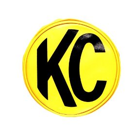 "Show details of KC HiLiTES 5101 Yellow Vinyl 6"" Round Light Cover with Black KC Logo - Set of 2."