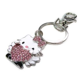 Show details of Large Angel Love Kitty Crystal Key Chain with Ice Pink Crystals.
