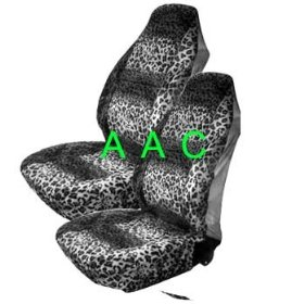 Show details of Set of 2 Universal-fit Animal Print Front Bucket Seat Cover - Snow Leopard.