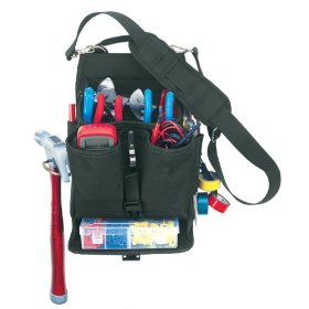 Show details of Custom LeatherCraft 1510 13 Pocket Electricians Tool Pouch with Plastic Tray.