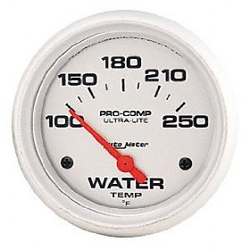 Show details of Auto Meter 4337 Ultra-Lite Short Sweep Electrical Water Temperature Gauge.