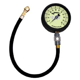 "Show details of Longacre Racing Magnum Tire Air Pressure Gauge3-3/4"" Glow in the Dark Face0-60 PSI by 1 lb with 17"" ultra flex hose and carrying case."