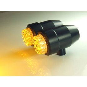 Show details of LED Turn Signal or Marker Lights with Amber LEDs in Black Anodized Taper Housings.