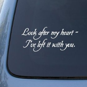 Show details of LOOK AFTER MY HEART - TWILIGHT - Vinyl Car Decal Sticker #1796 | Vinyl Color: White.