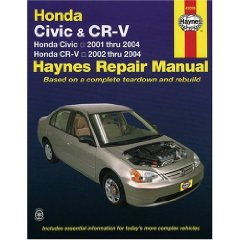 Show details of HONDA CIVIC 2001-2004 & CR-V 2002-2004 (Hayne's Automotive Repair Manual) (Paperback).