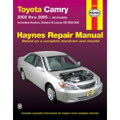 Show details of Toyota Camry,Avalon,Solara,Lexus ES300/330 Repair Manual 2002-2005 (Haynes Repair Manuals) (Paperback).