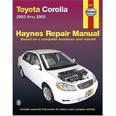 Show details of TOYOTA COROLLA, 2003 THRU 2005 (Hayne's Automotive Repair Manual) (Paperback).