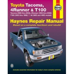 Show details of TOYOTA TACOMA (1995-2004), 4RUNNER (1996-2002) & T100 (1993-1998)(Haynes Repair Manual) (Paperback).