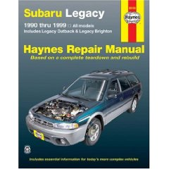 Show details of Subaru Legacy 1990 thru 1999: Includes Legacy Outback & Legacy Brighton (Haynes Repair Manual) (Paperback).