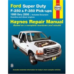 Show details of Ford Super Duty F-250 & F-350 Pick-ups 1999 thru 2006: Includes Excursion (Haynes Repair Manual) (Paperback).
