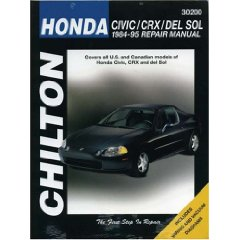 Show details of Honda Civic, CRX, and del Sol, 1984-95 (Chilton's Total Car Care Repair Manual) (Paperback).
